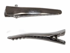 Alligator haarclipjes gebogen met puntje zilverkleur 44 mm x 6 mm, per stuk
