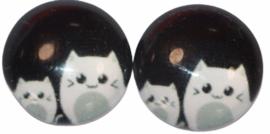 12 mm glascabochon poesjes per 2 stuks