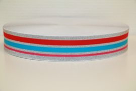 Zilver lurex aqua/fuchsia/ rood elastiek 40 mm per 0,5 meter