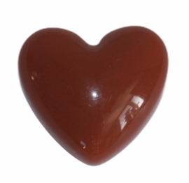 Flatback: retro hart roodbruin 17x18 mm, per stuk