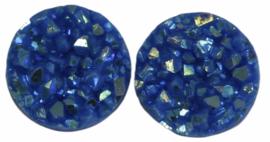 Flatback rondjes shiny blauw 10 mm, per paar