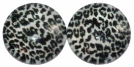 12 mm glascabochon panter zwart/wit  per 2 stuks