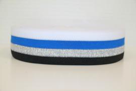 'Broek' streep: wit-blauw-zilver lurex-zwart 40mm, per 0,5 meter