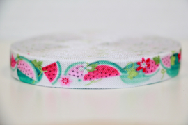 Elastisch band wit meloen 16 mm per 0,5 meter