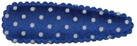 kniphoesje satijn kobaltblauw met witte stip 5 cm