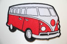 Applicatie VW busje rood 9 x  6,5 cm