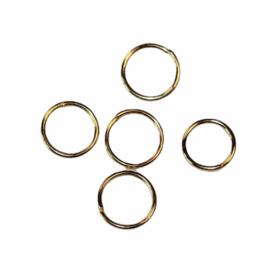 Ringetjes 8mm met opening goudkleur,  per 5 stuks