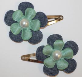 Haarclipjes jeans/zeegroene bloem