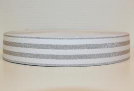 Elastiek lurex wit zilver 40 mm per 0,5 meter
