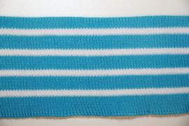 Boord blauw wit gestreept dubbelgevouwen 5cm breed, ca 55 cm lang