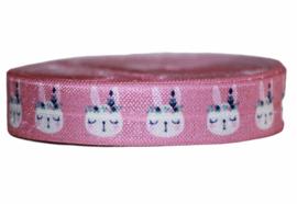 Elastisch band roze met konijntjes 16 mm per 0,5 meter
