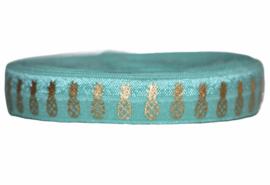 Elastisch band turquoise met gouden ananassen 16 mm per 0,5 meter