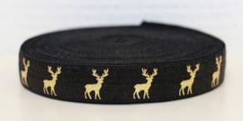 Elastisch band zwart met gouden rendier 16 mm per 0,5 meter