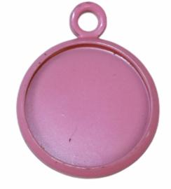 Bedeltje met setting 12 mm roze, per stuk