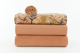 Sponge Terry cloth: Camel brown, SEE YOU AT SIX, per 25 cm