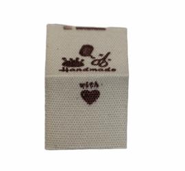 Kledinglabel handmade with love/garen-schaar-spelden, per stuk