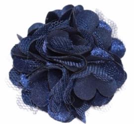 Tule bloem 5 cm marineblauw