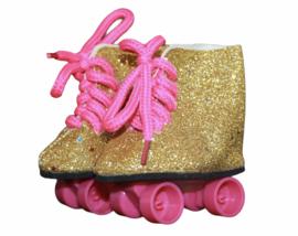 Rolschaatsjes goud-roze voor babyborn