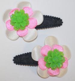 Haarclipjes jeans bloem wit/ neoroze en roos neongroen