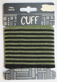 Cuff  stripes glitter zwart-legergroen  7x110 cm