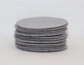 Rond viltje grijs 40 mm, per stuk