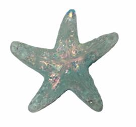 Flatback: Glitter zeester zachtblauw 25x24 mm