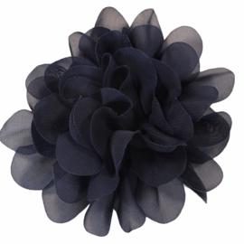 Stoffen bloem 10 cm marineblauw