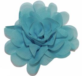 Stoffen bloem 7 cm aquablauw