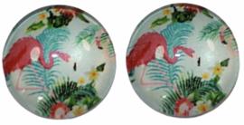 Glas flatback cabochon 12mm flamingo, per 2 stuks
