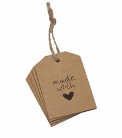 Bruine kartonnen kaartjes made with love 54x40 mm per 10 stuks