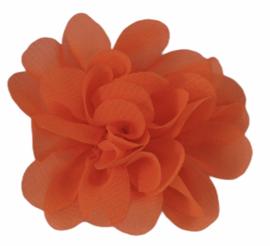 Stoffen bloem 5 cm neon oranje