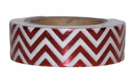 Masking tape shiny red-white chevron