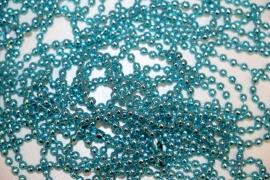 Aquablauwe bolletjes ketting 70cm 2,4mm