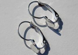Oorbellen met plakvlak 6mm zilverkleur french lever back per paar