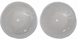 Glas flatback cabochon 12 mm wit per 2 stuks