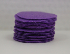 Rond viltje paars 40 mm, per stuk