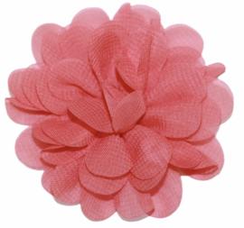 Stoffen bloem 7 cm zalm