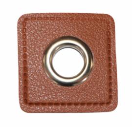 Nestels zilverkleur op Skai-leer 11mm bruin, per stuk