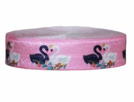 Elastisch band roze met zwanen 16 mm per 0,5 meter