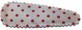 kniphoesje wit met rode stip satijn 5 cm