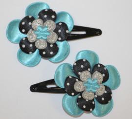 Haarclipjes bloem blauw/ zwart-wit stipje/ zilver