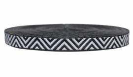 Sierband: Zig-zag zwart wit 12 mm, per 0,5 meter