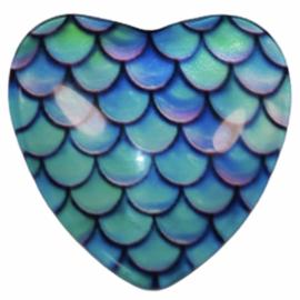 Hart glascabochon schubben 25 mm