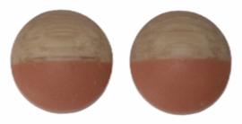 cabochon hout-look met dip oranje 12mm, per 2 stuks