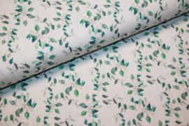 Tricot digitale print : bladeren, per 25 cm