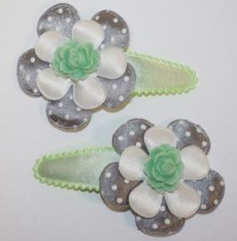 Haarclipjes bloem mint/grijs/wit/ mint roosje