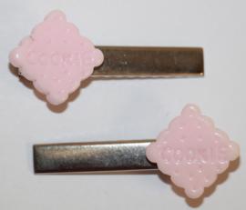 Haarclipjes cookie roze