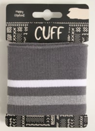 Cuff two stripes grijs- wit/lichtgrijs 7x110 cm