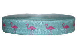 Elastisch band mint/aquablauw met roze flamingo 16 mm per 0,5 meter