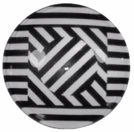 Glas cabochon 25mm: black & white
